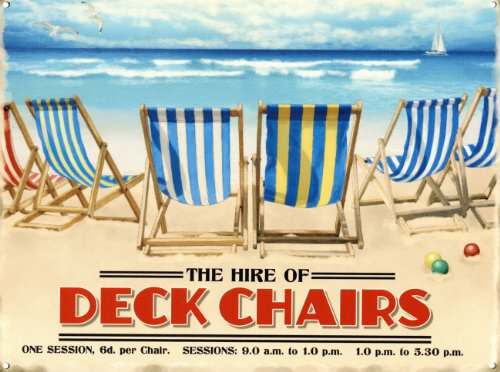 Grindstore Deck Chairs for Hire Blechschild blau (40x30cm)