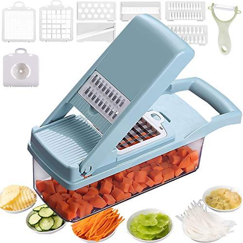 Mandoline Slicer Salad Chopper Spiralizer Vegetable Slicer 12 in 1 Food Choppers And Dicers Cheese Slicer 7 Blades