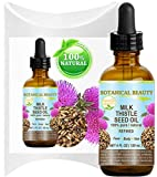 MILK THISTLE SEED OIL Silybum marianum seed oil 100% Pure Natural 4 Fl.oz.- 120 ml for FACE, SKIN, BODY, HAIR, NAILS, Foot Care. Foot Oil, Antioxidant Serum, Skin Moisturizer by Botanical Beauty