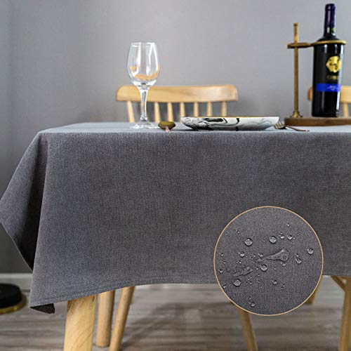 KINLO Tischdecke Leinenoptik Tischtuch Leinendecke Leinen abwaschbar Tischläufer Tischwäsche Eckig Lotuseffekt Wasserdicht Fleckschutz pflegeleicht, 140x260 cm Dunkelgrau
