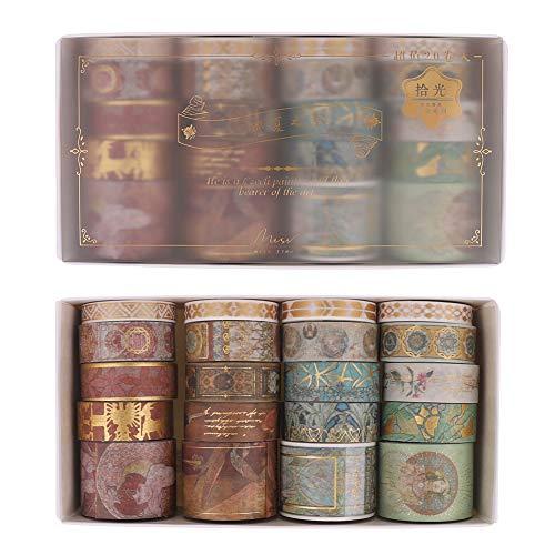 Gitua 20 Rollen Washi Tape Set, Folie Gold Dekorative Klebeband für Scrapbooking Journal DIY Handwerk Geschenke Dekoration (Mehrfarbig)