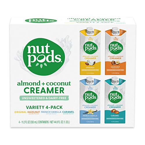 nutpods Variety Pack, (4-Pack), Original, French Vanilla, Hazelnut and Caramel, Unsweetened Dairy-Free Creamer, Made from Almonds and Coconuts, Whole30, Gluten Free, Non-GMO, Vegan, Kosher