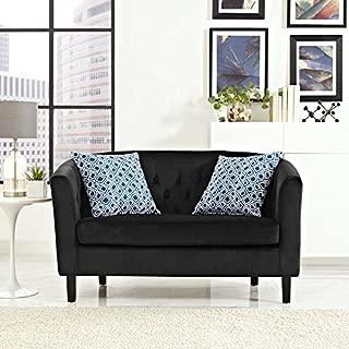 Modway Prospect Velvet Upholstered Contemporary Modern Loveseat In Black