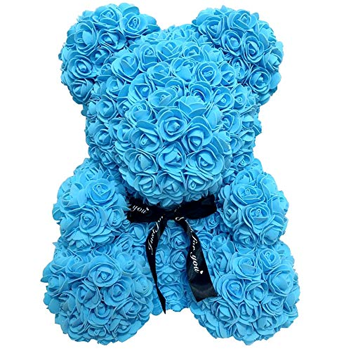 PROOY Rose Bear Teddy Bear Cub Forever Artificial Rose Anniversary Valentines Gift,blue