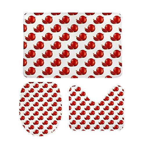 CHEHONG Juego de alfombrillas de baño, color rojo granate, incluye alfombrilla de contorno en forma de U, antideslizante, extra suave, forro polar coral, 3 piezas