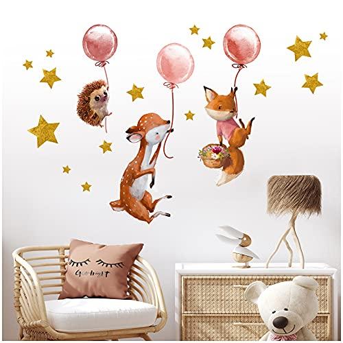 Graz Design - Y037 - Adesivo da parete per cameretta dei bambini, motivo: animali della foresta, per ragazzi, n. 13 animali della foresta con palloncini