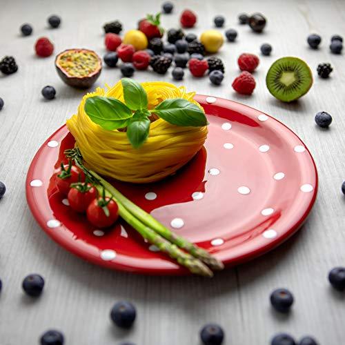 City to Cottage | Assiette plate | rouge à pois blancs en céramique faite et peinte à la main | 25,5cm