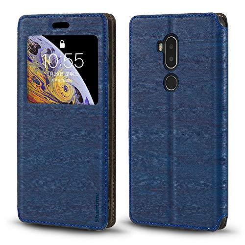 Funda para Alcatel A7 XL, piel de grano de madera con tarjetero y ventana, tapa magnética para Alcatel A7 XL