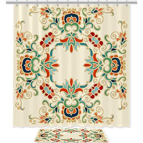Gelbes Barock Gedruckte Duschvorhang und Bodenmatte Set Trennwand Bad Dusche Vorhang große Größe...