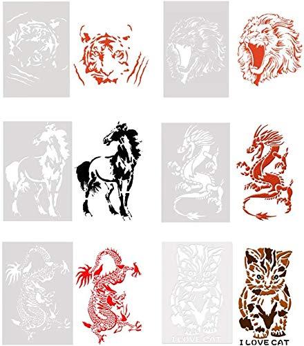DUBENS 6er Set Tiger/Löwe/Katze/Drachen/Pferd Tier Serie Kunststoff durchbohrt Malerei Schablonen, Kinder DIY Hand Zeichnung Graffiti Vorlagen, Kaffee Kuchen Dekoration Sprühvorlage