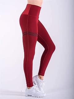 2018 Sexy Negro Forma De Corazón Mallas De Cuero De PU Pantalones De Entrenamiento De Las Mujeres Leggings Deportivos De Cruce Europeo Y Americano (Color : Rojo, Size : M)