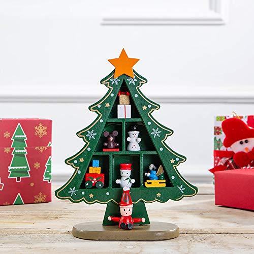 rbol de Navidad de mesa de madera, adornos de arte, decoracin de sala de estar para escritorio con pequeos accesorios decorativos-verde, 15 x 18 cm