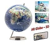 EXERZ AR Mappamondo/Globo in Inglese - Diametro 25cm base metallica - App di realtà...