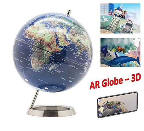 Exerz AR Globus Durchmesser 25 cm Mit Metallbasis - Unterhaltsame Und Interaktive Augmented Reality-App Für iOS Und Android - Drehbarer Globus Pädagogisch, Dekorativ, Schule- Englischer Sprache Karte