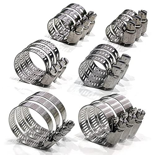 Juego de abrazaderas de manguera de acero inoxidable ajustable de 18 piezas 6-51 mm, kit combinado, adecuado para tubos de gas, tuberías de agua, tuberías de automóvil, etc.