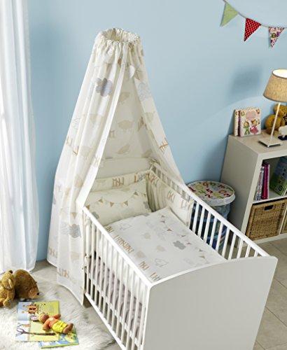 s.Oliver Junior Geschenkset für Babys – Bettwäsche 100x135 cm + Nestchen + Himmel im Geschenk Karton, 100% Baumwolle, Schäfchen beige