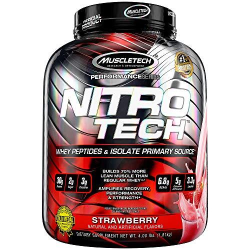 Muscletech Suplemento para Deportistas Nitro Tech Performance Series, Sabor de Fresa - 1800 gr ⭐