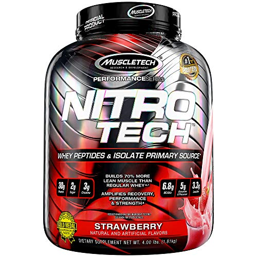 Protein Powders, MuscleTech Nitro-Tech Whey Protein Powder and Creatine Monohydrate, Whey Isolate and Peptides, Protein Shakes for Men and Women, 6.8g of BCAA, Strawberry, 1.8 kg (40 Servings)