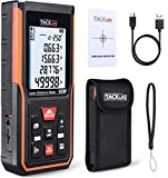 Tacklife Laser Measure 196Ft USB Rechargeable&Self-Calibration,Laser Distance Meter with Electronic Angle Sensor,Backlit LCD,Mute