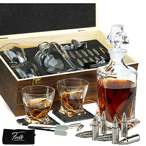 Whiskey Decanter Gift Set for Men - Whiskey Decanter, 2 Twist Whiskey Glasses, 10 Stainless Steel Whisky Bullets, 2 Slate Coasters, Silicone-Tipped Tongs & Freezer Pouch in Pinewood Box