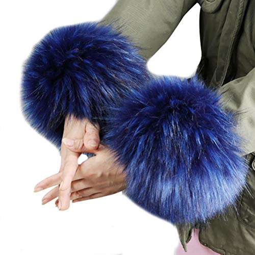 vannawong Manguitos de piel sintética para mujer, para climas fríos, calentadores de brazos, mullidos, suaves, elásticos, suaves, accesorios para disfraz. Azul profundo. Talla única