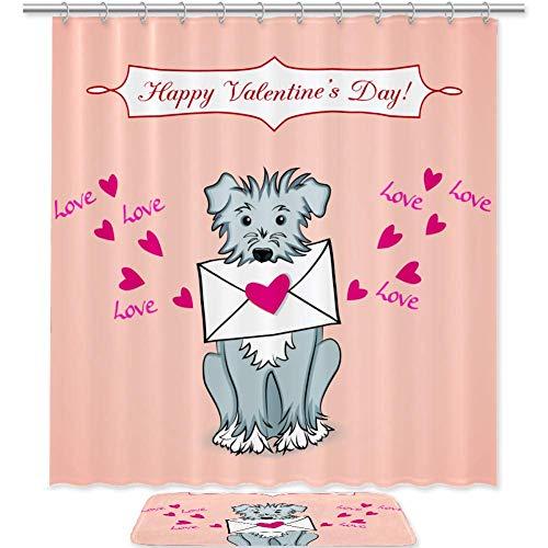 TIZORAX Valentijnskaart met hondenmand douchegordijn set met antislip badmat vloermat decoratie