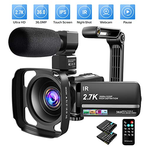 Video Camera Camcorder 2.7K Ultra HD YouTube Vlogging Camera 36MP IR Night Vision...