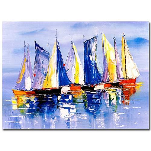 suhang landschap abstract olieverfschilderij op canvas poster print wandafbeelding voor woonkamer zeilboot canvas schilderijen 50x70cm No frame ongeframed.