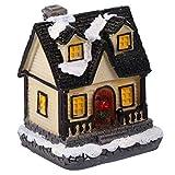 PATKAW 1 Unidad de Casa de Jengibre de Navidad Iluminada Resina LED Iluminada Casas de Pueblo de Navidad Escena de Navidad Mini Casa con Batería para Decoración Interior de La Habitación