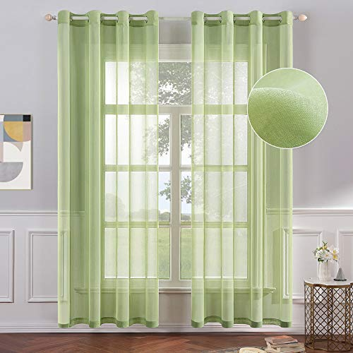 MIULEE 2 Panels Light Green Semi Sheer Window Curtains Elegant Grommet Top Window Voile Panels/Drapes/Treatment Linen Textured Panels for Bedroom Living Room (54X84 Inches)