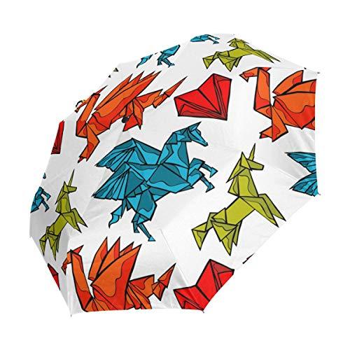 Paraguas plegable de viaje, diseño de dragón de origami, con forma de corazón, resistente al viento, impermeable, portátil, para el sol