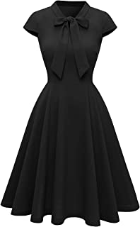 Women's Classic Vintage Tie Neck Casual Cocktail Party Swing Dresses