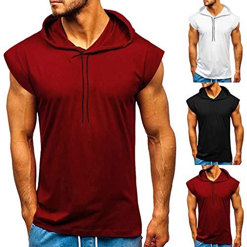 NMSLCNM Herren Sommer Hoodie Weste Muskelshirt Bodybuilding Ärmelloses T-Shirt Männer Gyms Muscle Shirts Tops Trainingsweste Schnell trocknend Tank Top Kapuze Tankshirt Unterhemd Achselshirt