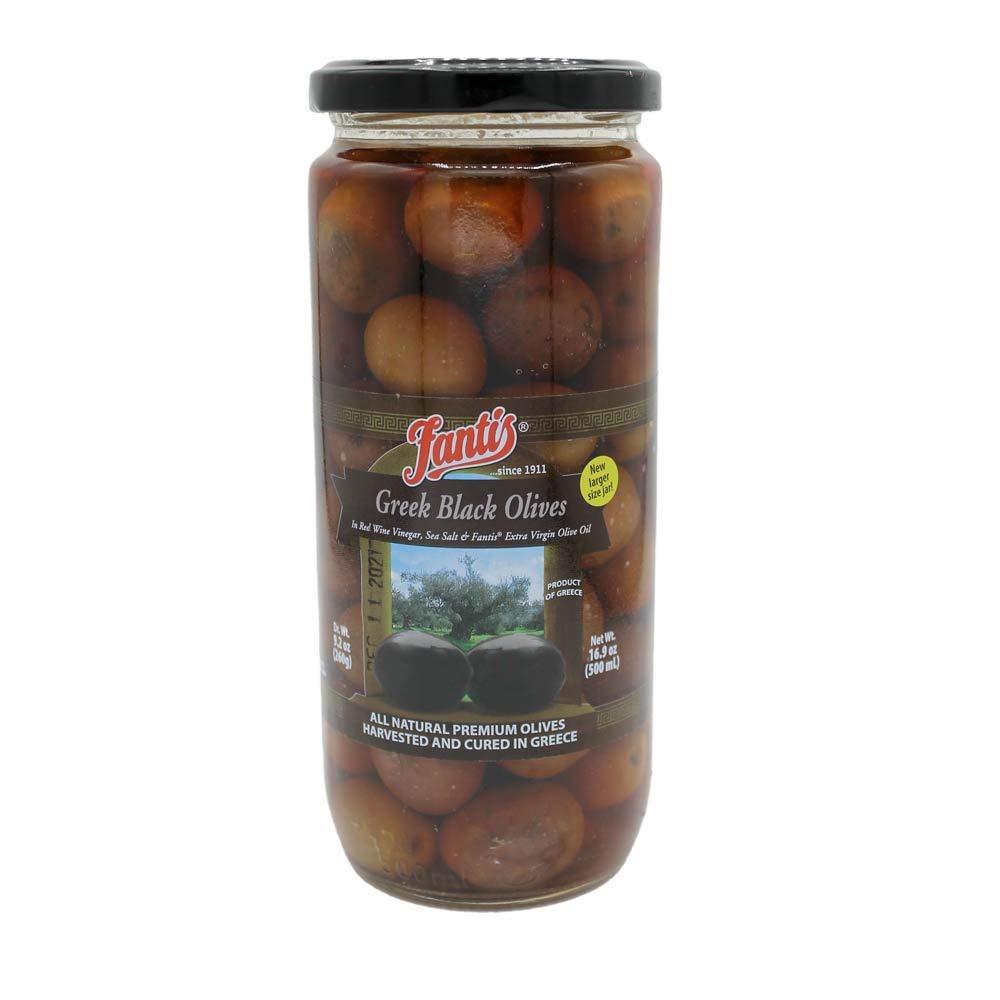 Fantis specialty shop Greek 2021 model Black Olives 16.9oz 500ml jar