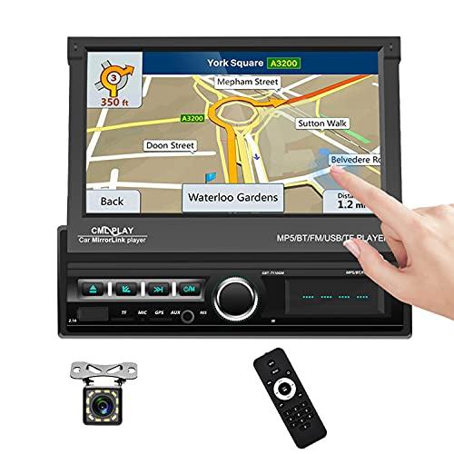 Autoradio 1 Din Touch Screen HD 7 Pollici, Navigatore GPS Stereo per Auto, Bluetooth Auto Stereo MP5 Lettore, Supporto FM/USB/AUX/TF, con controllo del volante della telecamera di backup a 12 LED