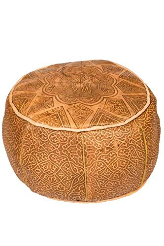 Orientalischer runder Pouf aus Leder ø 40cm Rund 25cm Hoch inklusive Füllung | Marokkanisches Sitzkissen Sitzpouf Kissen Abrar Braun | Marokkanischer Hocker Sitzhocker Fusshocker