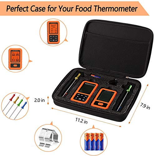 ENZOO Wireless Meat Thermometer for Grilling,Upgraded 500FT,Ultra Accurate & Fast Digital Meat Thermometer with 4 Probes,Best Carring Case Included,178°WideView Meat Thermometer for Smoker,Griller,BBQ