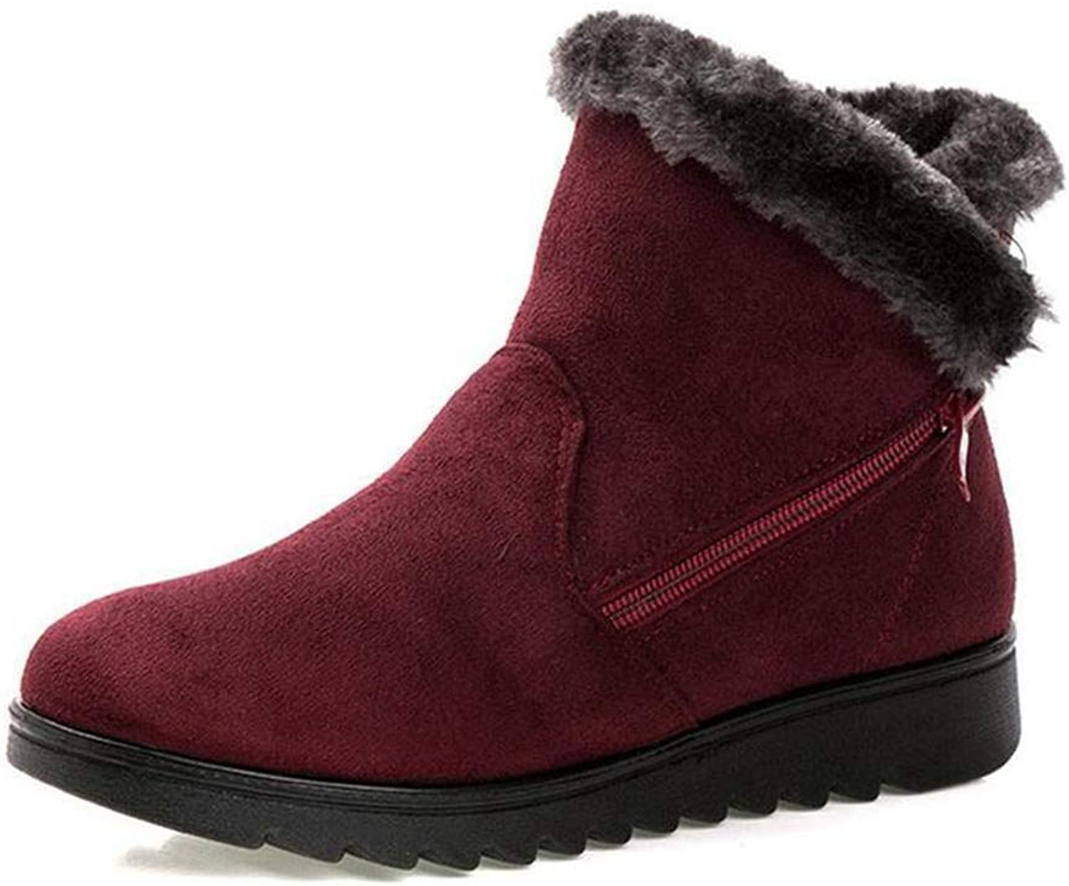 Zarbrina Womens Fur Lined Flat Platform Ankle Boots Casual Soft Rubber Sole Round Toe Short Plush Slip On Winter Warm Snow shoes