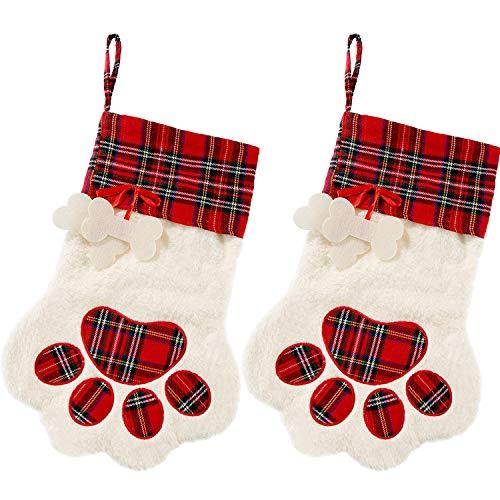 2 Stück Weihnachtsstrümpfe Pet Paw Musterstrümpfe Kamin Hängende Strümpfe für Haustiere und Weihnachtsdekoration (Rot)