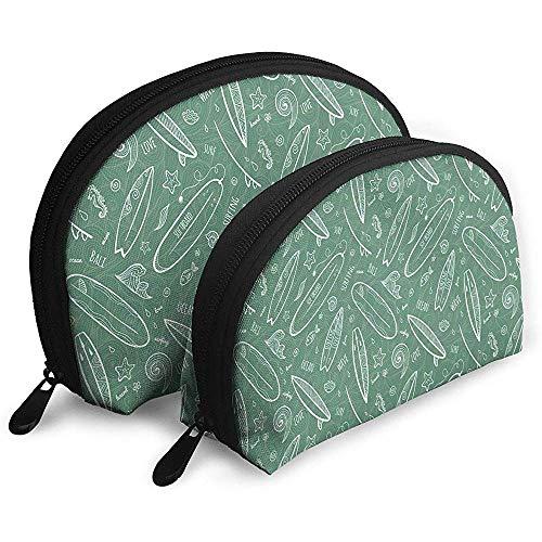 Blue Waters Oceanic Waves Swirls Doodle White Outlines Portable Bags Makeup Bag Trousse de Toilette Multifunction Portable Travel Bags