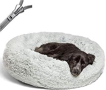 Puppy Love Panier Chien, Couffin Chien Lavable, Coussin Chien Anti Stress XXXL Dehoussable,Paniers Et Mobilier pour Chiens, Lit Moelleux Rond pour Chien, Confortable (100cm, Light Gray)