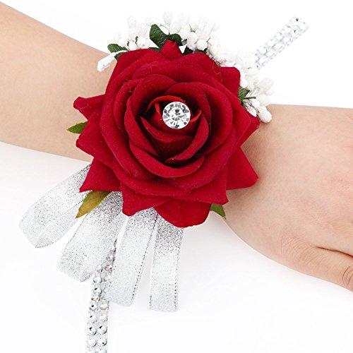 FAYBOX Velvet Open Rose Silvery Bling Ribbon Rhinestone Stretch Bracelet Wedding Prom Wrist Corsage Hand Flower Pack of 2 WineRed