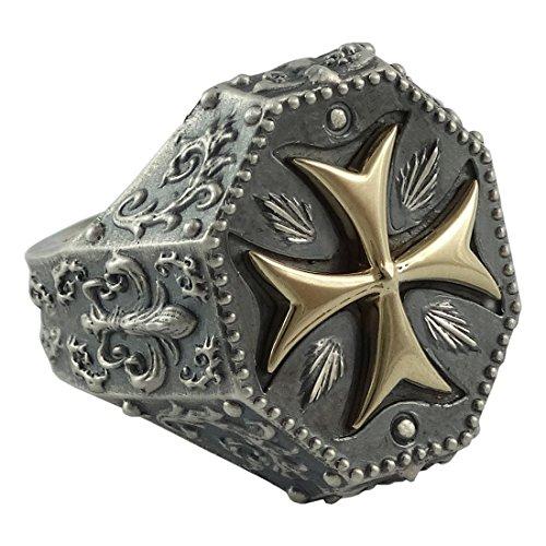 Handarbeit Gelb Gold 10K und Sterling Silber 925Tempelritter Herren Freimaurer Ring, Mittelalter Malteser Kreuz, Fleur de Lis, Biker Style - 10ct Yellow Gold & Sterling silver - 70 (22.3)