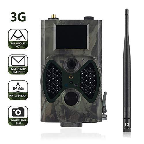Suntek 3G Wildkamera mit Bewegungsmelder Nachtsicht 16MP 1080P Full HD Wildtierkamera mit Infrarot No Glow LEDs und IP65 Wasserdicht Beutekameras für Tierbeobachtung Haussicherheitsüberwachung