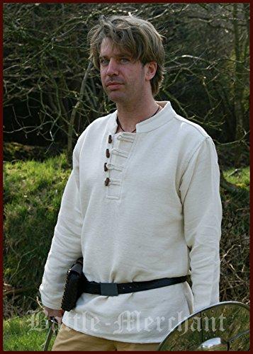 Moyen lourd chemise en coton tisséà la main en bois naturel, moyen, avec, lARP viking Taille XXXL