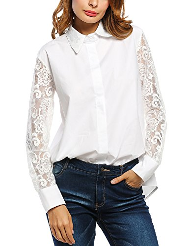 Zeagoo Women's Button Down Long Sleeve Blouse Patchwork Lace Shirt Top, Small, White