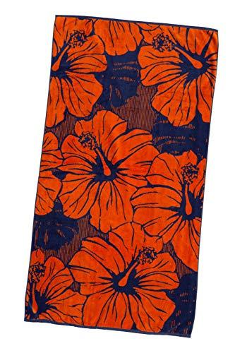 P.K. Collection XXL Strandtuch Strandhandtuch 100x180 cm Velours Strandlaken (Hibiscus)