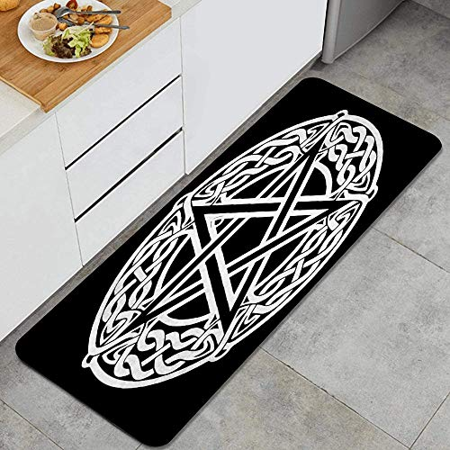 KGSPK Anti Fatigue Kitchen Rugs Celtic Knot Pentagram Black Star Comfort Non-Slip Doormat mat Area Rug for Floor Home,Office,Sink,Laundry