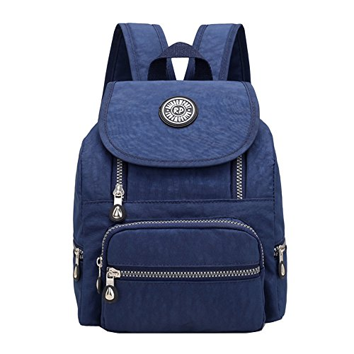 Casual Mini Waterproof Nylon Backpack Purse for Women Girl Small Lightweight Daypack (Navy blue)