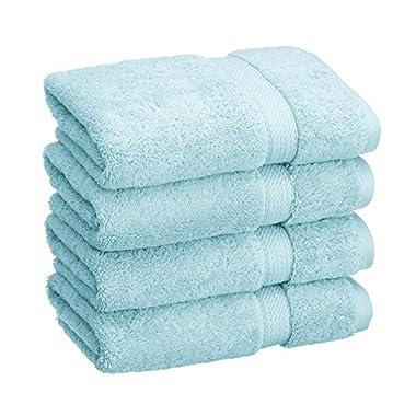 Blue Nile Mills 4-Piece Hand Towel Set, Premium Long-Staple Cotton, 900 GSM, Sea Foam
